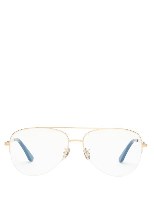 Cartier Eyewear - Aviator Titanium Glasses - Womens - Gold