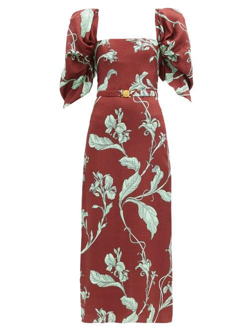 Johanna Ortiz - Rayo De Esperanza Belted Floral Jacquard Dress - Womens - Brown Multi