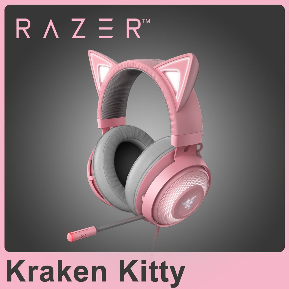 ★快速到貨★Razer 雷蛇 Kraken Kitty Quartz 北海巨妖 粉晶發光貓耳 電競耳機麥克風