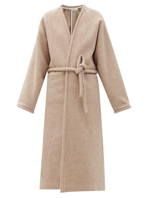 Kassl Editions - V-neck Wrapped Felted-wool Blend Coat - Womens - Beige