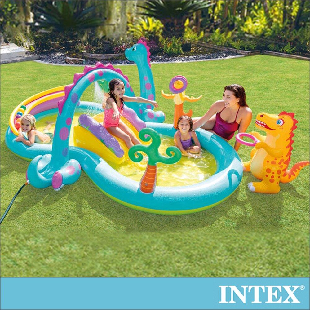 【INTEX】恐龍遊樂園大型戲水池302x229x112x深14cm(290L) 適2歲以上(57135)