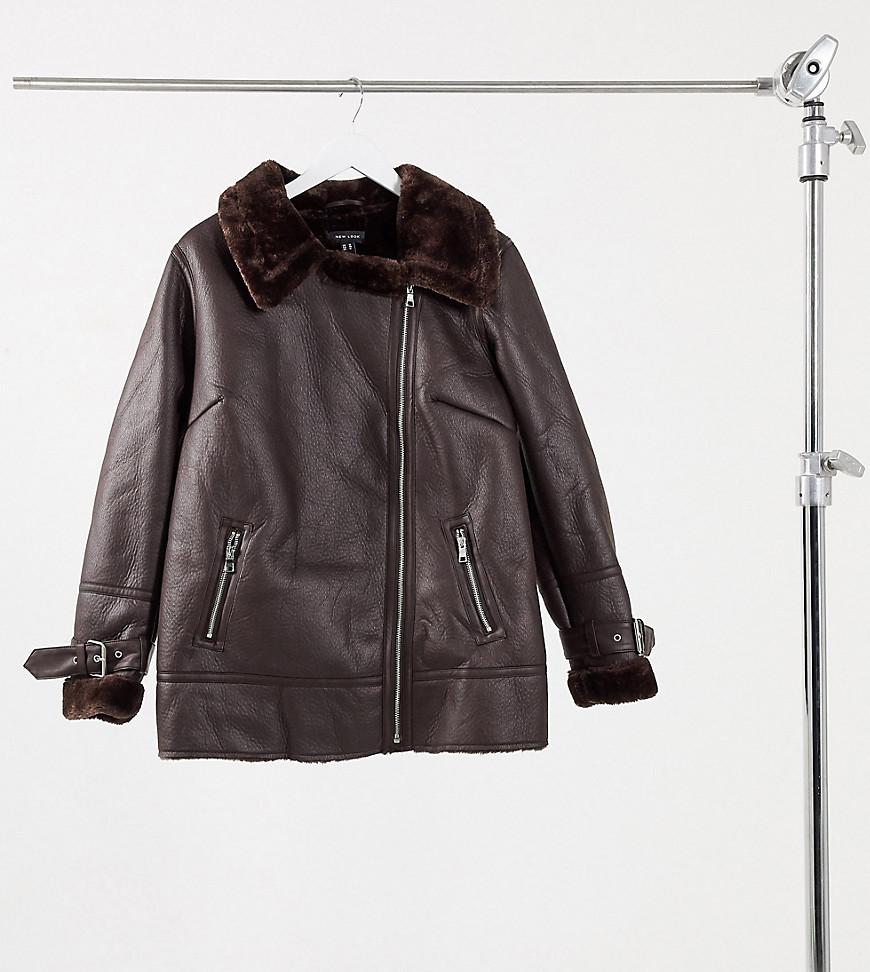 New Look Curve faux fur trim aviator jacket in dark brown