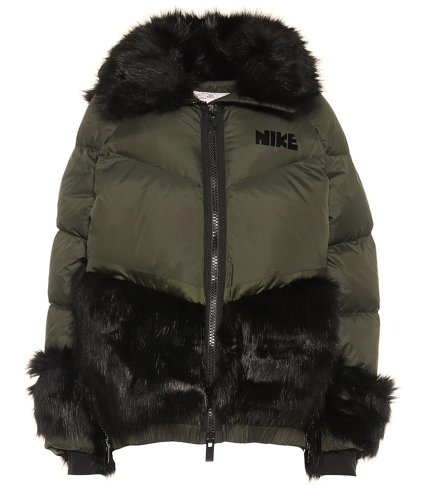 x sacai faux fur-trimmed down jacket