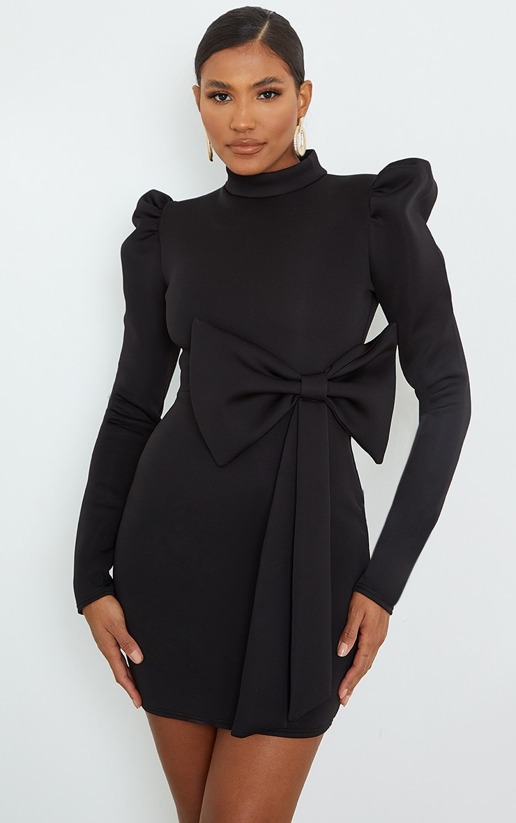 Black High Neck Bow Detail Scuba Bodycon Dress