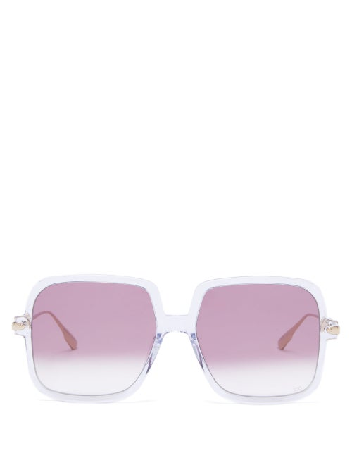 Dior - Diorlink1 Square Acetate Sunglasses - Womens - Clear