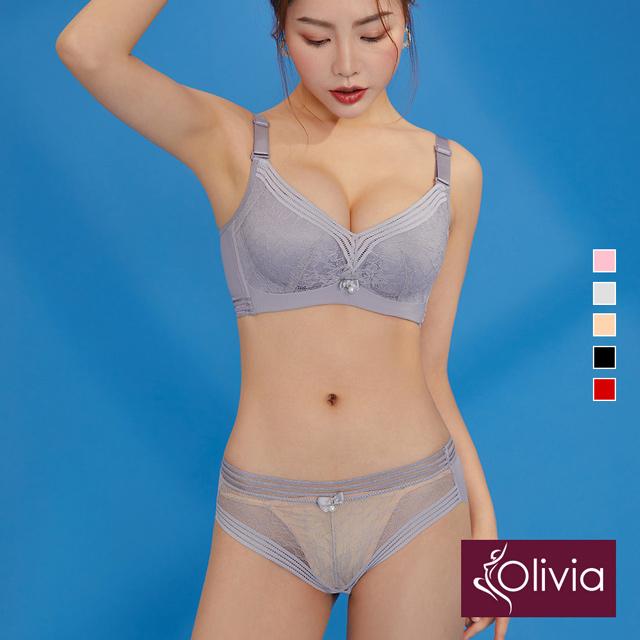 【Olivia】無鋼圈素雅蕾絲內衣褲套組-灰色