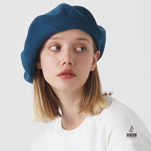 透氣帽子貝雷帽女薄款顯臉小寬松大頭圍畫家帽八角帽【愛物及屋】