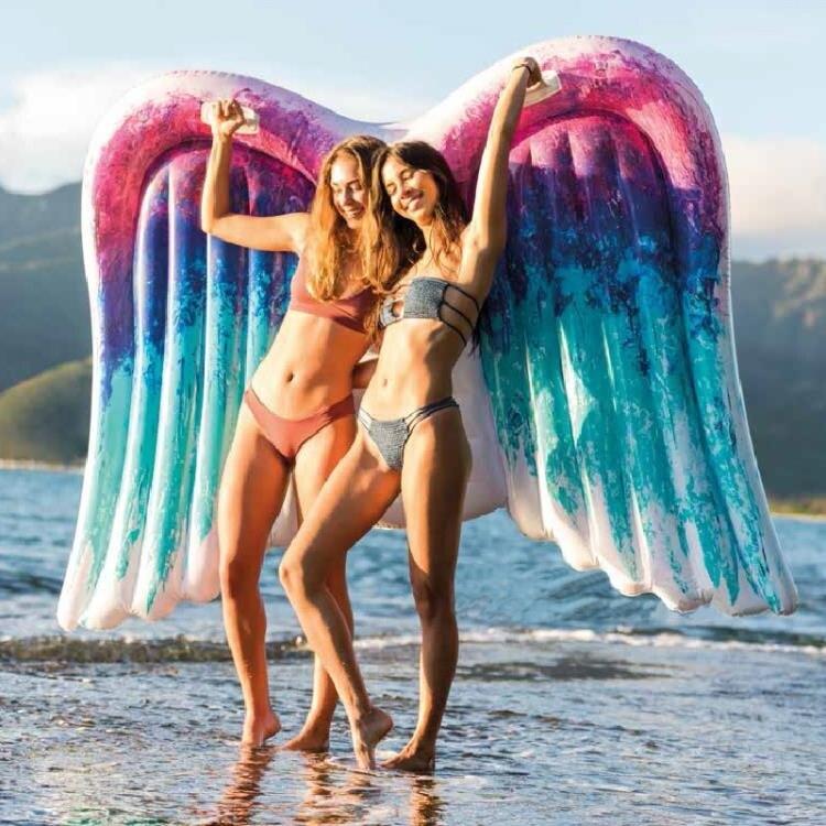 大號天使翅膀浮床兒童充氣游泳圈玩具成人加厚水上浮排
