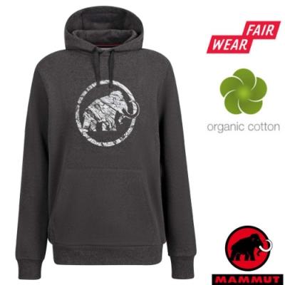 長毛象 男款 Logo ML Hoody 有 機棉透氣保暖連帽長袖上衣.T恤_黑