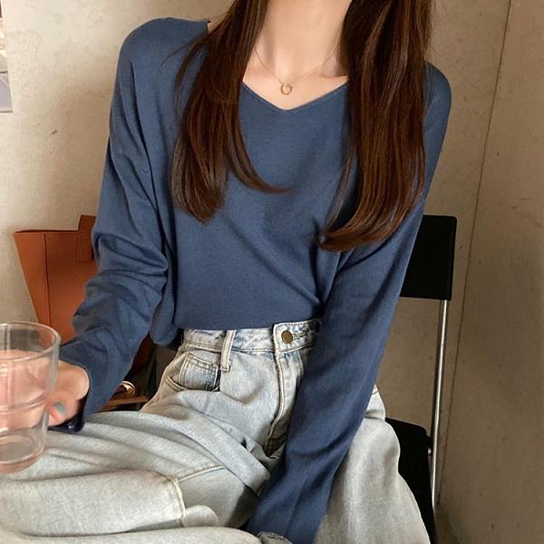 v領毛衣女打底衫秋冬新款寬鬆慵懶風套頭薄款長袖內搭針織衫 小山好物