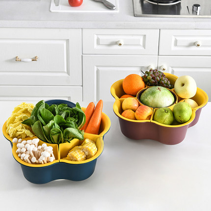 可旋轉火鍋蔬菜拼盤家用分格塑料雙層水果洗菜籃瀝水火鍋食材拼盆 OB9098