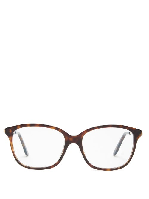 Cartier Eyewear - Trinity Square Metal And Acetate Glasses - Womens - Tortoiseshell