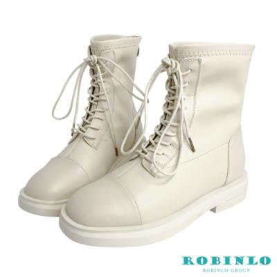 Robinlo好感穿搭圓頭綁帶造型短靴 軍靴機車靴 米白色