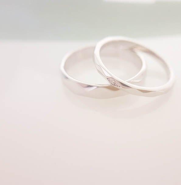 銀淬坊PurCoeur 925純銀+白K  菱格紋切面造型情人男女對戒 戒指