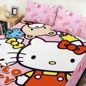 BUTTERFLY-凱蒂貓-搖粒絨刷毛雙人加大床包三件組-歡樂同好會