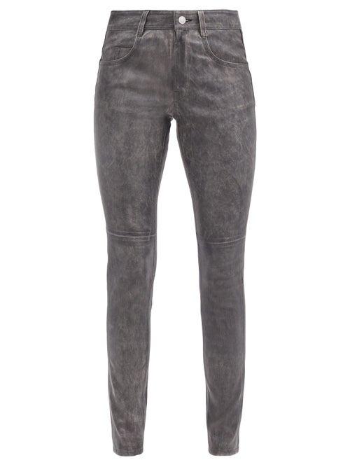 Isabel Marant Étoile - Taro Leather Slim-leg Trousers - Womens - Black