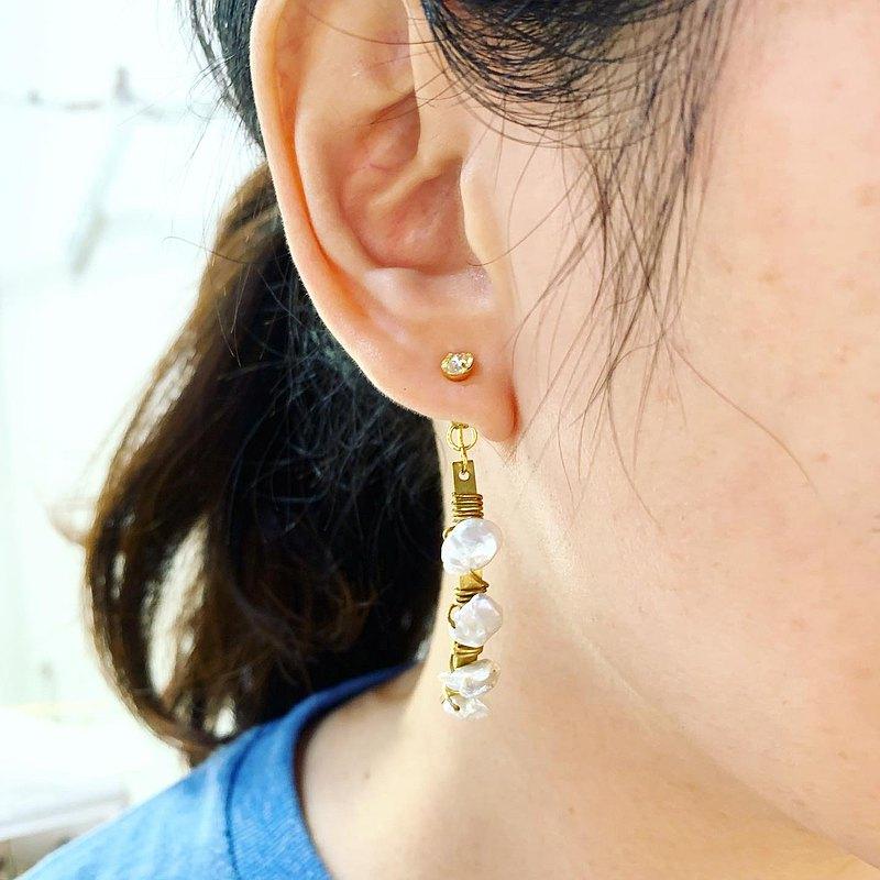 水晶貼式耳針+天然珍珠半單圈後耳扣雙用耳環_免費修改夾式耳環