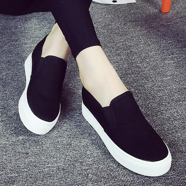 夏季小白鞋女鬆糕鞋白色帆布鞋女韓版厚底內增高懶人鞋低幫休閒鞋 雙12全館免運