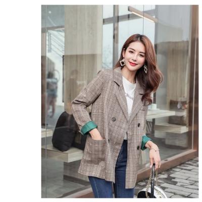 2F韓衣-韓系時尚格紋西裝外套-咖啡色(2XL)