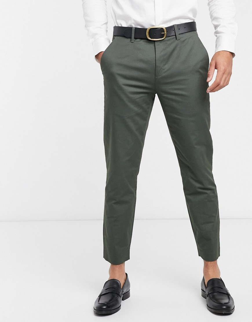 Ted Baker cliftro dyed cotton cropped trousers-Green