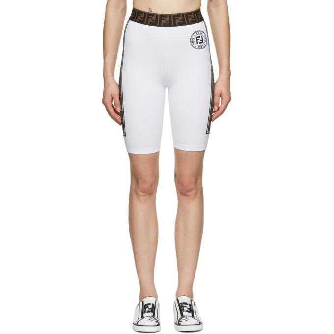 Fendi 白色 Fendirama 骑行短裤