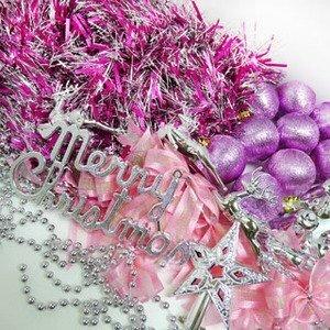 摩達客-聖誕裝飾配件包組合~銀紫色系 (3尺(90cm)樹適用)(不含聖誕樹)(不含燈)