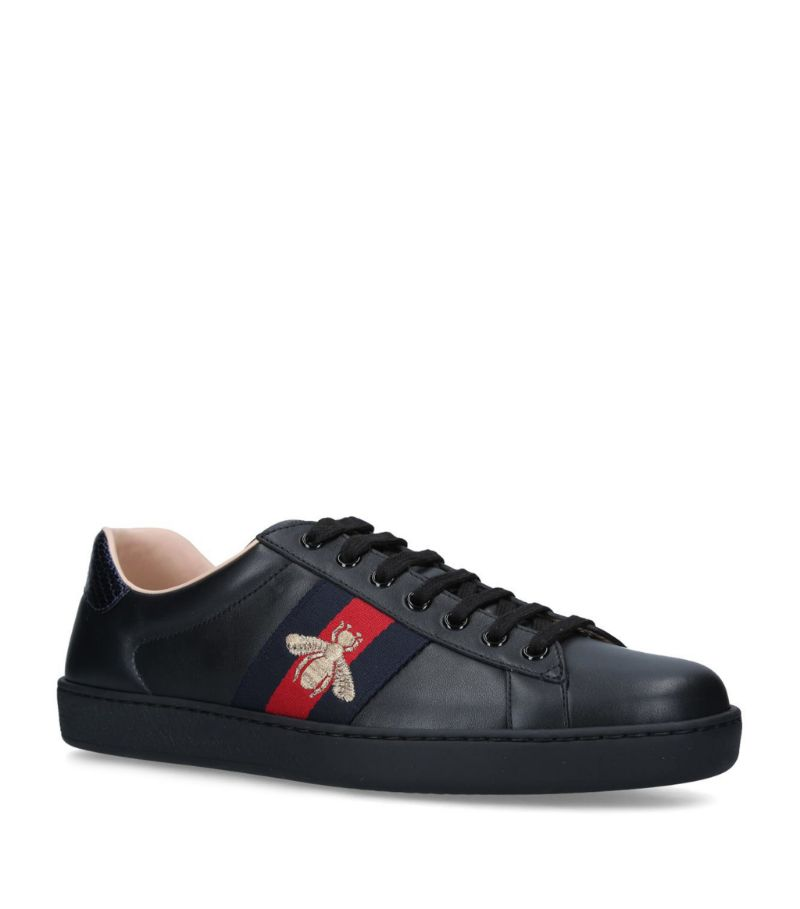 Gucci Leather Bee-Embroidered Ace Sneakers
