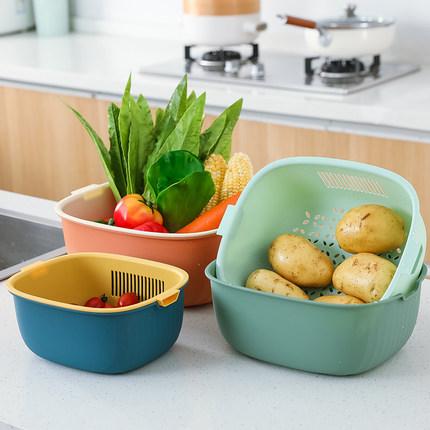 雙層家用廚房洗菜盆瀝水籃菜籃子洗菜籃茶幾客廳水果盤洗水果神器 OB9157