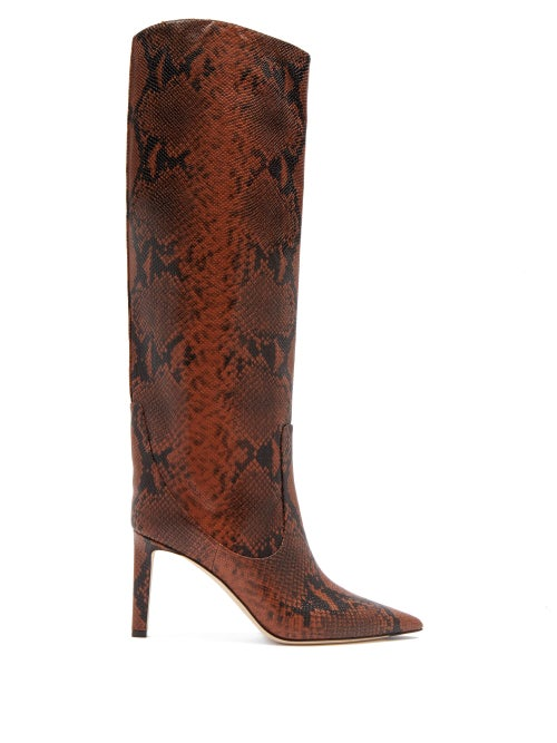 Jimmy Choo - Mavis 85 Python-effect Leather Knee-high Boots - Womens - Tan