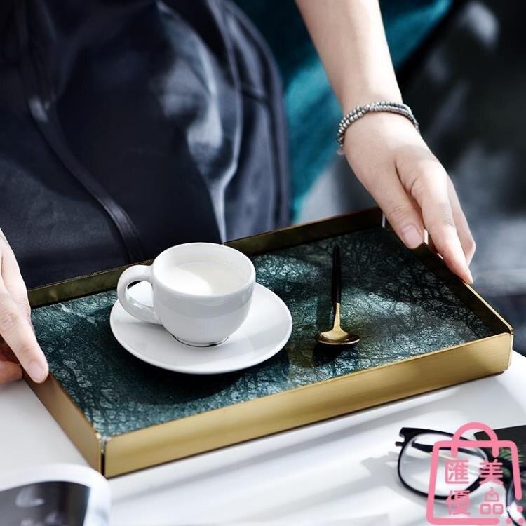長方形大理石托盤化妝品香薰衛浴收納置物盤子