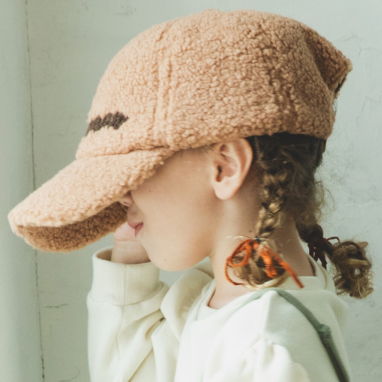 日本 PAIRMANON - 泰迪熊英文字棒球帽-杏棕 (頭圍56cm可調)
