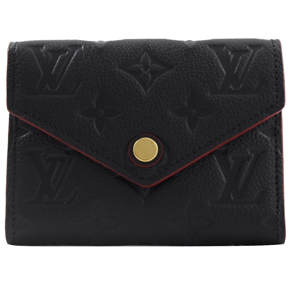 Louis Vuitton LV M64577 VICTORINE 經典花紋皮革壓紋零錢中短夾.海軍藍 現貨