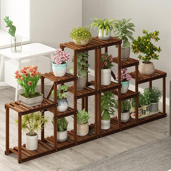 花架 陽臺花盆架客廳落地式創意實木制角落多層裝飾植物架子 阿宅便利店
