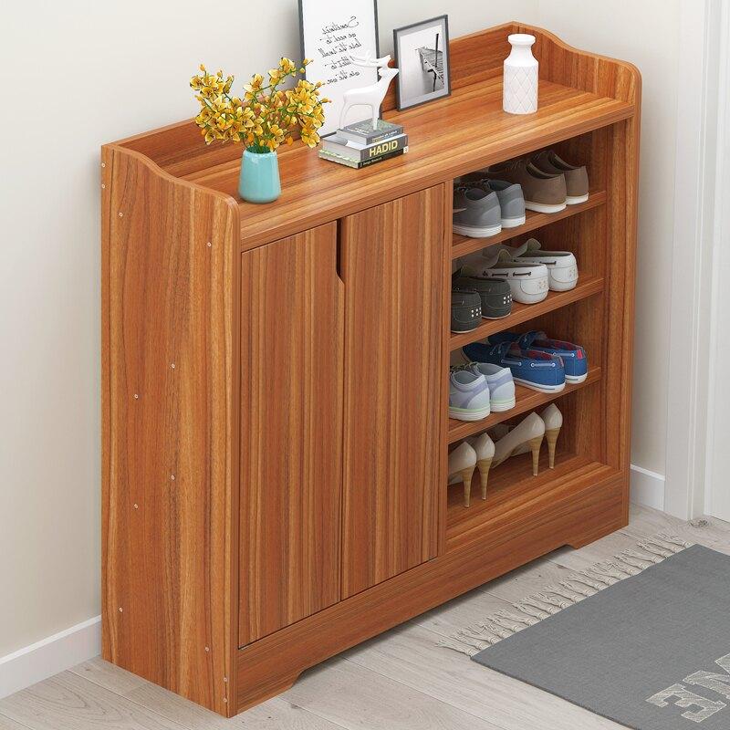 鞋櫃收納簡易儲物櫃實木色多層小鞋架 雙十一