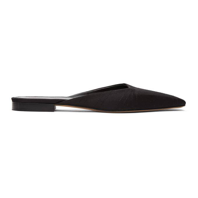 Toteme SSENSE 独家发售黑色缎面拖鞋