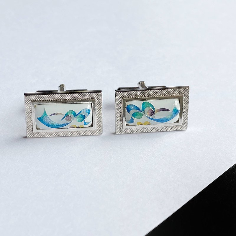絲帶最小[白色]景泰藍烤袖口鈕扣袖扣純銀子宮景泰藍