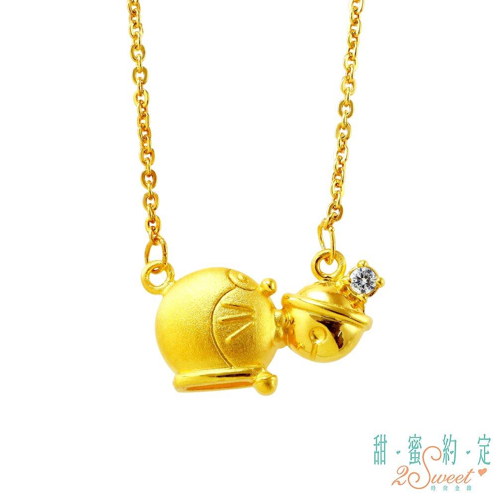 甜蜜約定 Doraemon 幸運貓鈴哆啦A夢黃金項鍊