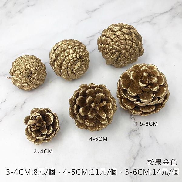 BEAGLE 金色/銀色3-4公分 乾燥花 松果 單顆 松塔 不凋花 人造花 乾燥花束 花藝設計 攝影佈景