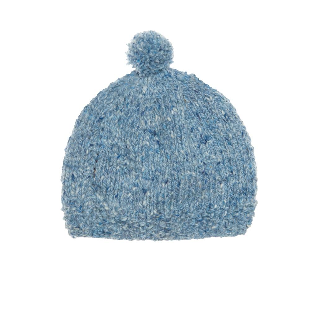 Magee 1866 Baby Blue Heather Handknit Baby Hat