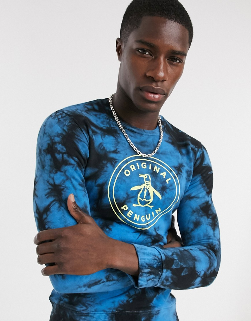 Original Penguin stamp tie-dye crew neck sweat-Blue