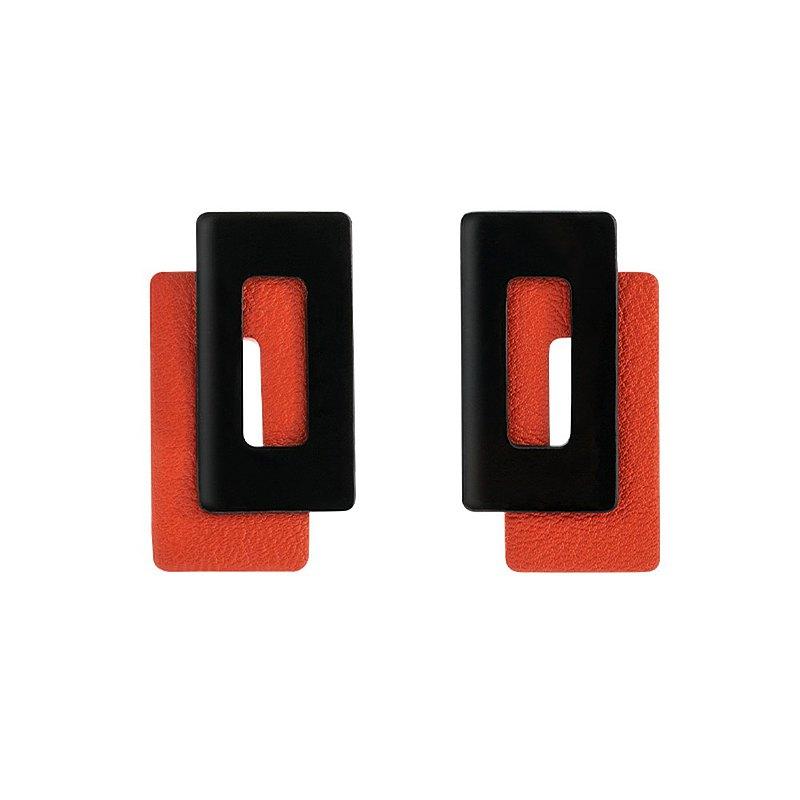 消失的樓宇系列 撞色摩登設計感耳環 錯位皮革耳釘