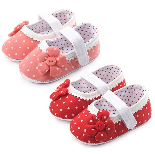 寶寶學步鞋 點點花朵 防滑娃娃鞋 (11-13cm) 小公主 寶寶鞋 MIY1463