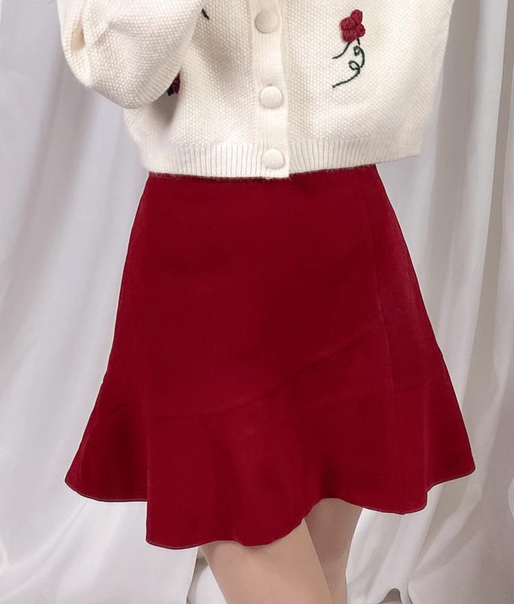 韓國空運 - Semi-Elastic Waist Flounce Hem Mini Skirt 裙子