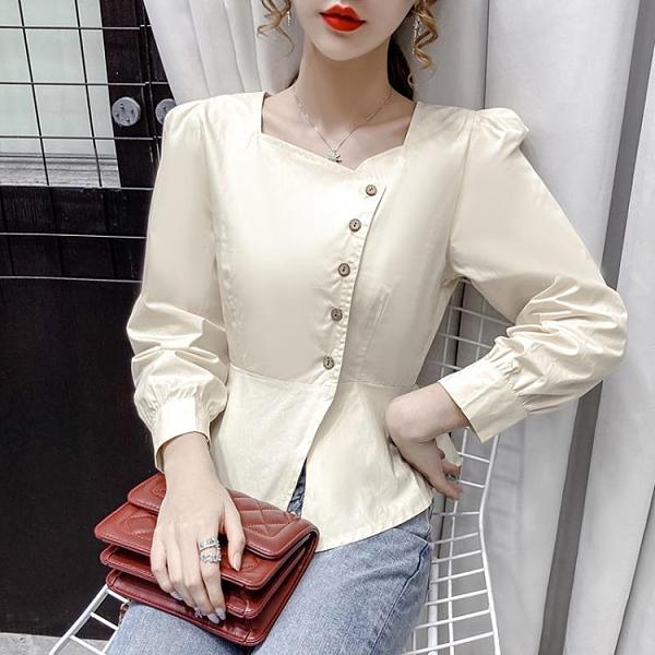 現貨寄出 短款襯衫女秋裝新款法式不規則方領設計感小眾短上衣長袖襯衣