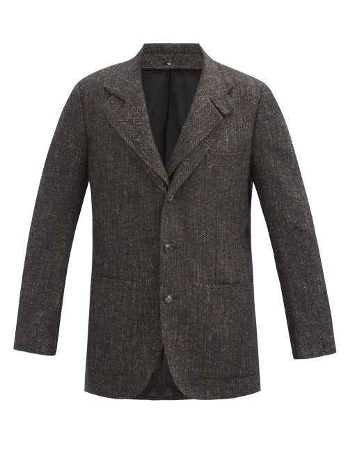 Umit Benan B+ - Double-collar Single-breasted Herringbone Blazer - Mens - Dark Brown
