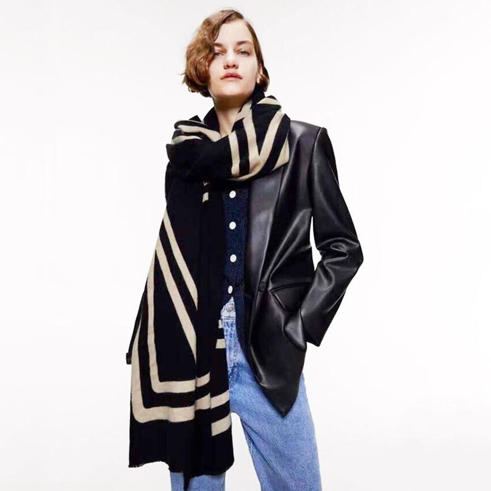kissdiamond米蘭時尚簡約線條保暖長圍巾披肩(kdm-sw02)