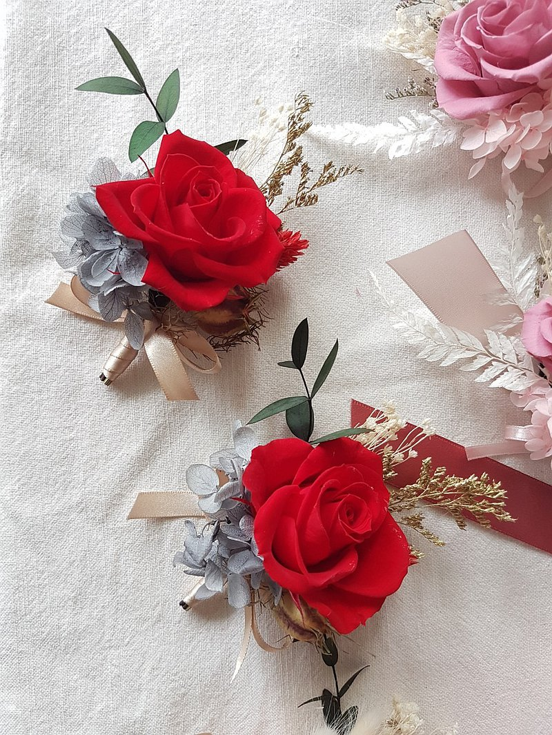 海藏設計|Elizabeth Rose尊爵紅玫瑰胸花 永生胸花