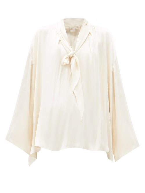 Zanini - V-neck Pussy-bow Silk-satin Blouse - Womens - Cream