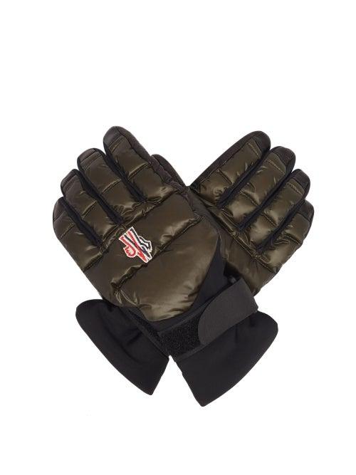 Moncler Grenoble - Embroidered-logo Leather-palm Ski Gloves - Mens - Dark Olive