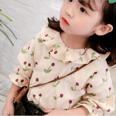 小衣衫童裝 女童花邊翻領綠葉小櫻桃長袖上衣1080921